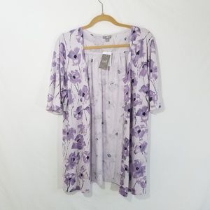 NWT J. Jill Cardigan Short Sleeved Purple Flowers